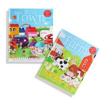 文脉书局 英文原版点读绘本启蒙儿童忙碌城市农场立体书早教套装 支持小BOOK点