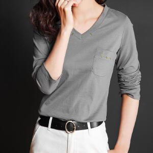 t恤女v领修身纯色长袖bf韩版宽松潮学生百搭女式2017秋季新款体恤