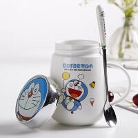 卡通可爱喝水马克杯大容量陶瓷杯带盖勺牛奶早餐杯男女生家用上学