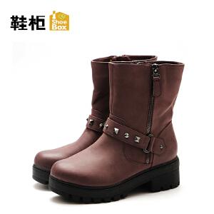 达芙妮旗下鞋柜秋冬款欧美商务圆头拉链短靴女-1