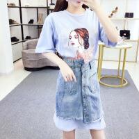 2018夏季新款时尚女装钉珠中长款T恤+不规则牛仔裙两件套连衣裙 浅蓝色