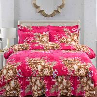 床罩式床裙四件套1.8m米床上加厚纯棉裙式公主风床套1.5m2.0m米床