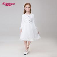 儿童公主裙蓬蓬纱礼服花童女孩礼服白色长袖春季