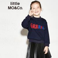 littlemoco儿童卫衣男女童绣花字母长袖套头卫衣时尚上衣