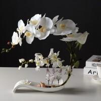 手感仿真蝴蝶兰套装假花盆栽装饰花中式餐桌家居客厅玫瑰摆件花艺