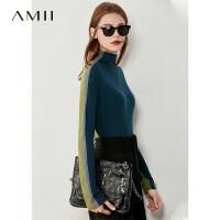 【�A估�r208】Amii撞色�纱┨最^羊�q毛衣女2020秋冬新款外穿修身羊毛��衫上衣