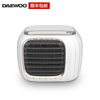 韩国大宇(DAEWOO)USB小型桌面小风扇迷你水冷风机净化办公室家用便携式无雾加湿香薰加水风扇 DYLF01白色