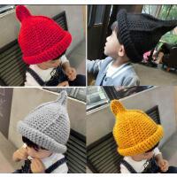 儿童帽子秋尖尖帽小孩毛线帽宝宝帽子冬针织帽套头帽男女童保暖潮