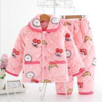 冬季珊瑚绒夹棉加厚保暖家居服套装3法兰绒男女儿童宝宝睡衣韩版
