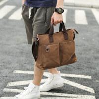 男士潮流商务出差帆布手提包休闲单肩斜挎包多功能公文包背包男包