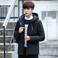 冬季新款中长款外套男带帽潮牌韩版修身款男装羽绒服轻薄衣服