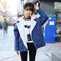 韩观秋冬装韩版大码加厚羊羔毛牛仔外套女 学生棉衣加绒中长棉袄 加绒款