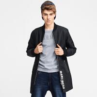 A21 男士棉衣外套中长款冬季棉服外套男长袖加绒印花新款男装青年