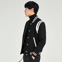 【3】GXG男装 男士短款棒球领黑色羊毛呢夹克外套#64821525