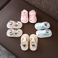 宝宝凉鞋夏季0-2岁婴儿软底学步鞋叫叫鞋布鞋
