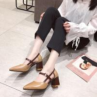 网红高跟鞋女春夏时尚新款韩版百搭尖头浅口凉鞋粗跟仙女单鞋