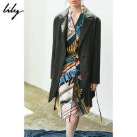 【2件3折 折后价:219】Lily春秋女装设计感不对称条纹中长款系带西装119340C22