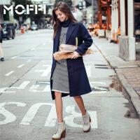 冬季新款欧美风中长款呢大衣女式潮流显瘦时尚风衣外套 蓝色