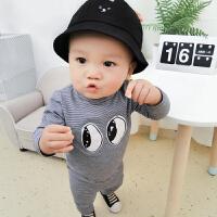 妈咪kiss蓓莱乐婴儿衣服3个月6冬季男宝宝睡衣女童洋气套装秋冬装