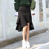 韩版不规则包臀荷叶边裙子前短后长半身裙中长款秋冬女高腰鱼尾裙 黑色