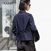 AMII极简原宿风宽松衬衫女polo长袖2018秋季设计感不规则纯棉上衣.