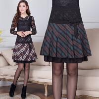2018中老年半身裙短裙中年半身裙中老年女装裙妈妈裙子秋冬百褶裙