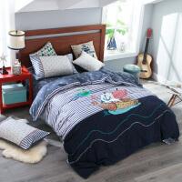 全棉绣花儿童四件套纯棉 男孩女孩三件套床上用品1.2米床1.5m床