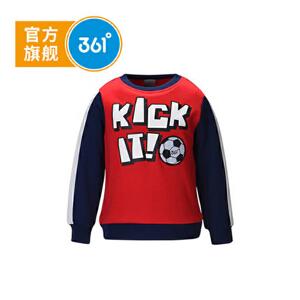 361° 361度正品秋季男童长袖T恤小孩足球运动上衣中大童卫衣