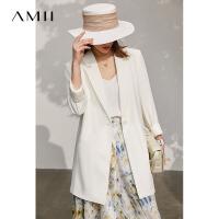 Amii极简薄款休闲西装外套女2021春夏新款气质长款百搭白色小西服