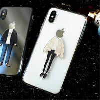 适用于iPhone7情侣手机壳7Plus全包软壳6S创意苹果X情侣手机套8透明女款 iPhone X - 【女款】