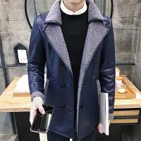 男士冬季皮毛一体加厚加绒机车皮衣男韩版修身pu皮夹克潮男装外套