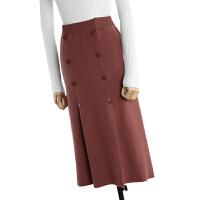 2017秋季新款韩版高腰针织半身裙长裙女秋冬中长款包臀鱼尾裙裙子 均码