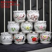 多肉花盆带托盘陶瓷花器小花盆紫砂创意植物花盆 中等