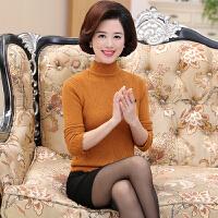 促销中老年人女装秋冬加厚半高领妈妈装毛衣针织打底衫奶奶羊毛衫