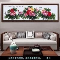 名人手绘牡丹画国画字画客厅装饰画卧室背景墙水墨画挂画