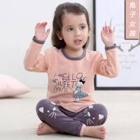 卡通韩版儿童内衣套装纯棉A类保暖男女童新款家居服童装睡衣