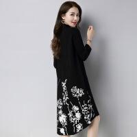 印花长款女式针织毛衣裙 秋冬新品韩版宽松大码针织毛衣打底