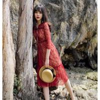 酒红蕾丝丝绒蝴蝶结连衣裙两件套 酒红色