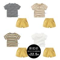 女童夏装短裤子套装婴儿短袖t恤1岁3个月2宝宝洋气