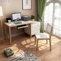 书桌台式电脑桌家用现代简约白色办公桌卧室写字台 1.4m书桌 椅子