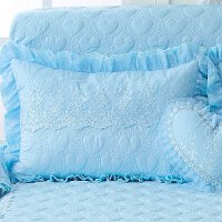 单人枕头套婚庆蕾丝夹棉荷叶花边枕套/枕皮情侣枕套一对定制 48cmX74cm