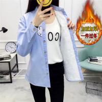 加绒衬衫女长袖秋冬装2018新款韩版学生条纹打底上衣加厚保暖衬衣