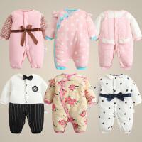 男婴儿连体衣服加厚新生儿宝宝外出冬季新年冬装潮款棉衣0个月