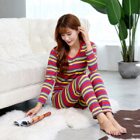 秋衣秋裤女士薄款彩色条纹莫代尔毛衫中老年宽松保暖内衣套装