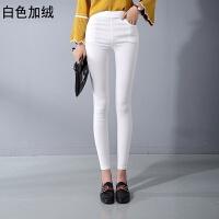 打底裤加绒加厚女冬季外穿新款黑色小脚铅笔高腰韩版显瘦长裤 白色 加绒