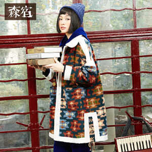 森宿P信封冬装民族风棉衣外套印花修身Polo领羊羔毛长款棉服女