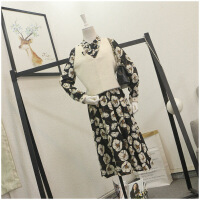 夏季新品薄款V�I收腰�L袖花色�B衣裙女24163