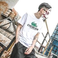 夏季日系恶搞鳄鱼潮流印花短袖纯棉青年休闲套头T恤男潮