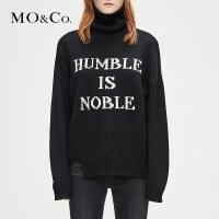 MOCO秋冬新款高领套头羊毛宽松慵懒风图案毛衫MA184SWT320 摩安珂
