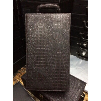 新款黑色鳄鱼纹双支红酒皮盒礼盒包装两只葡萄酒箱 乌黑 双只蜥蜴纹